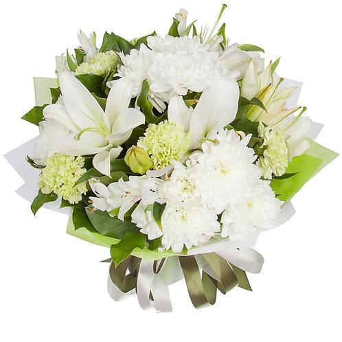 Букет из лилии, гвоздики, альстромерии, хризантемы (37 шт.)