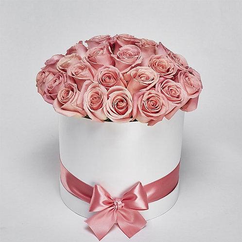 """Шляпная Коробка Розы """"Hermosa"""" 25 Роз"""
