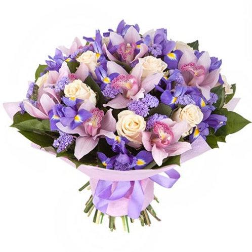 Букет из роз, орхидей и ириса (47 шт.)