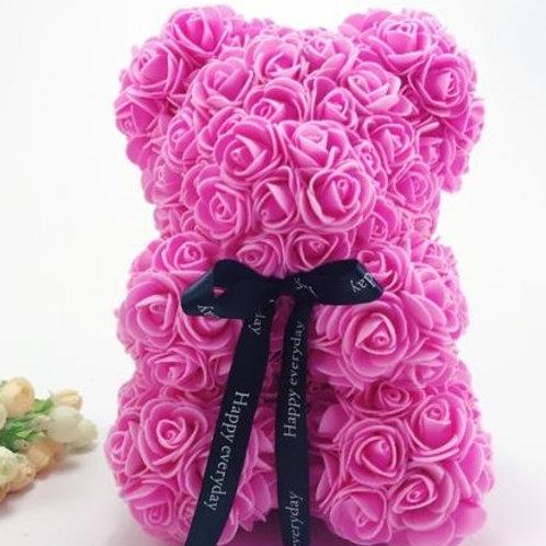 Мишка из розовых 3D роз (20см)