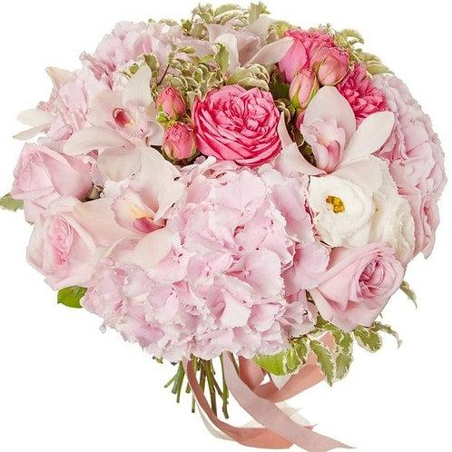 Букет из роз, гортензии, орхидеи, эустомы (29 шт.)