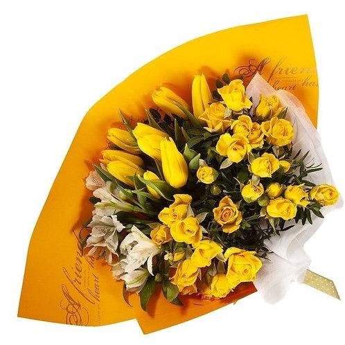 Букет из роз, тюльпанов, альстромерий (29 шт.)