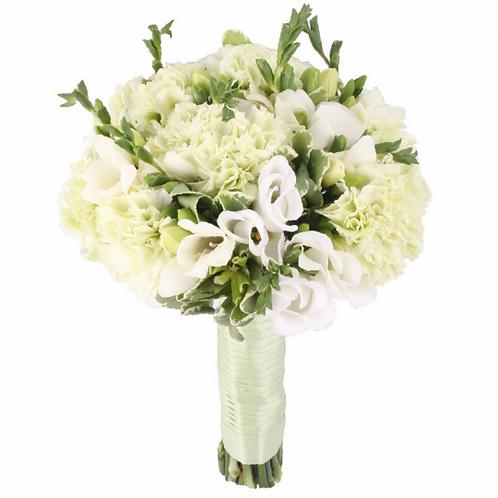 Букет невесты из гвоздики, лизиантуса и фрезий