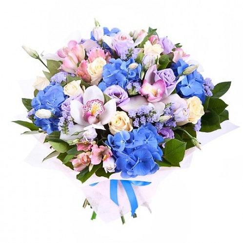 Букет из роз, орхидей, гортензии, альстромерии (35шт.)