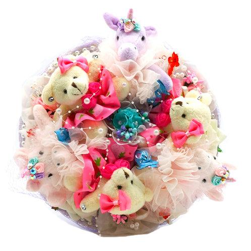 Букет - 6 игрушек, 7 заколок, 6 конфет