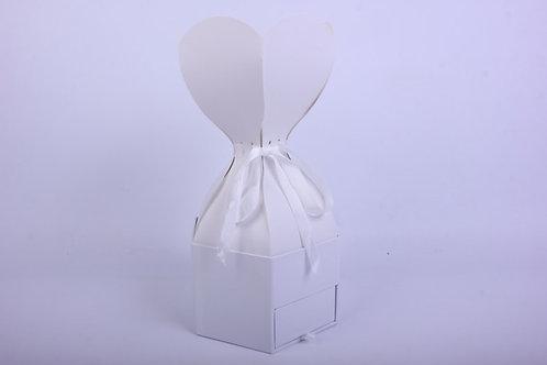 """Подарочная коробка одиночная Шестигранник """"Трюфель"""" с ящичком Белый d=18, h=12/3"""