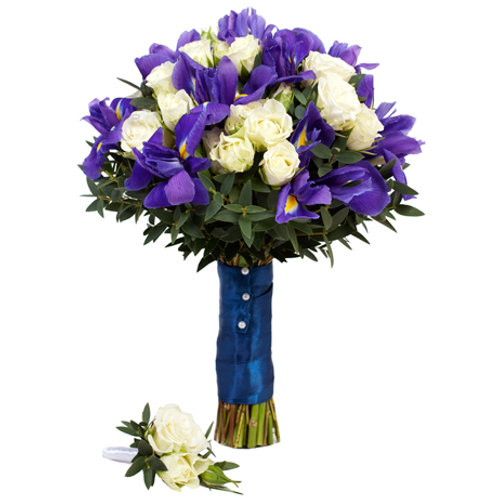 Букет невесты из роз, ириса и эвкалипта
