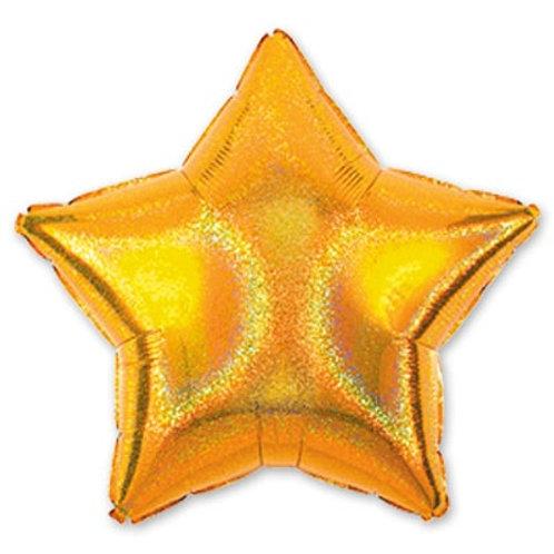 "Шарик блеск 19"" звезда Gold"