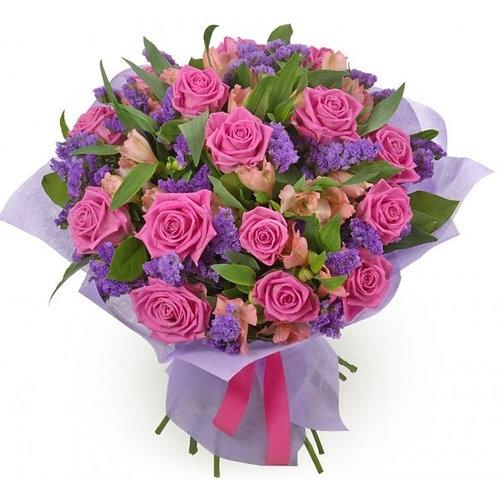 Букет из роз, альстромерии, статицы (39 шт.)