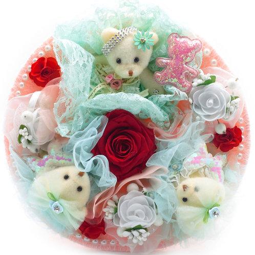 Букет - 3 игрушки, 9 заколок, 1 стабилизированная роза