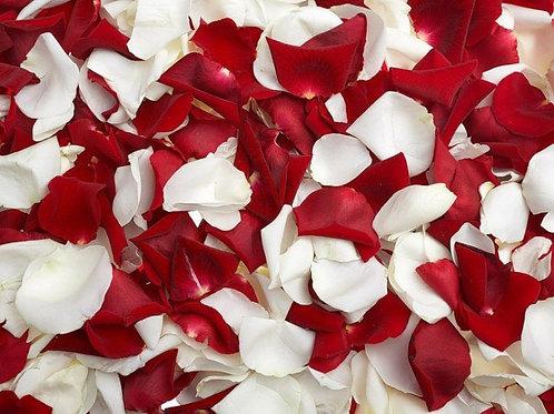 Лепестки роз красного и белого цвета, 1 пакет-12л