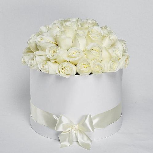Шляпная Коробка Белые розы  51шт.