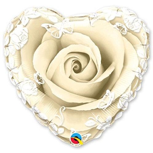 "Шарик 21"" Роза Ivory с орнаментом"