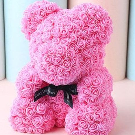 Мишка из розовых 3D роз (40см)