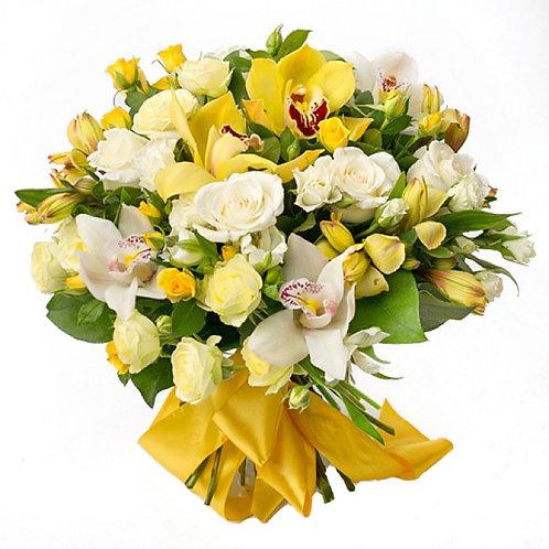 Букет из роз, кустовых роз, орхидей, альстромерий (37 шт.)