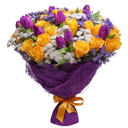 Букет из роз, хризантем, тюльпанов (49 шт.)