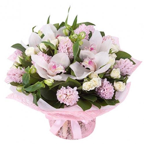 Букет из гиацинтов, орхидей, роз, альстромерий (37 шт.)