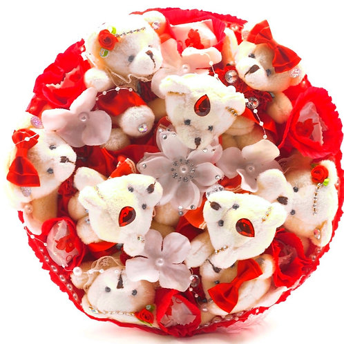 """Букет - 9 мишек, 6 конфет """"Рафаэлло"""", 1 заколка, 1 нить для волос"""