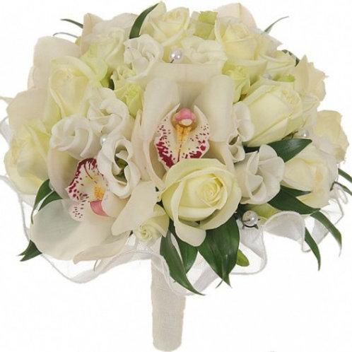 Букет невесты из роз, орхидей,  эустомы