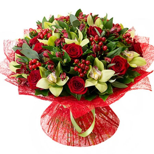 Букет из роз, орхидей и альстромерий (53 шт.)
