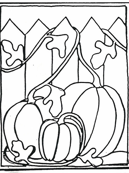 Pumpkins by Fence Pattern REO Designs