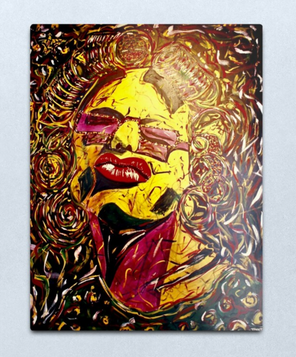 """Connie During Mardi Gras in Hair Rollers"" Metal Print"