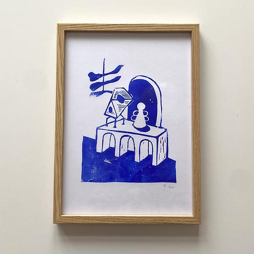 Framed Linocut Art Print