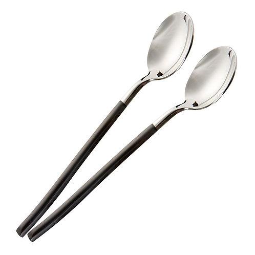 瑞典【GREEGREEN】 304不鏽鋼黑柄銀頭湯匙 2入