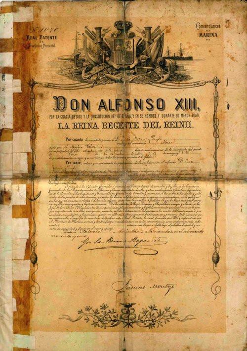 La  Patente de Navegación dada en Ibiza en 1891 es el documento más antiguo que conservan sus dueño y está firmado por María Cristina, la Reina regente cuando el rey Alfonso XIII era todavía menor de Edad.