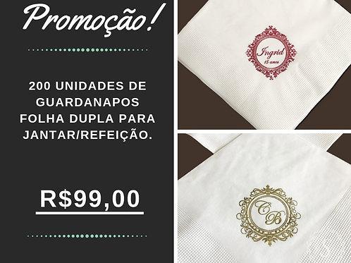 200 UND - Guardanapos de Folha Dupla para jantar/refeição.
