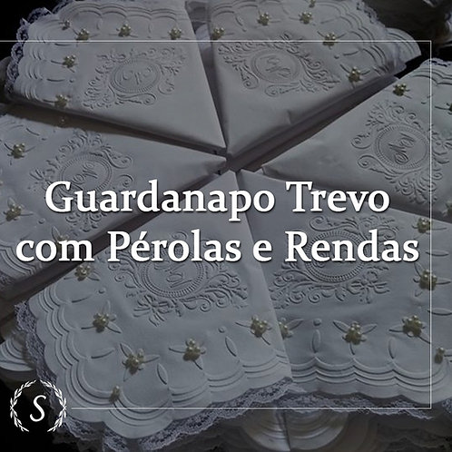 100und  - Guardanapos com pérolas e rendas 24x24cm Trevo