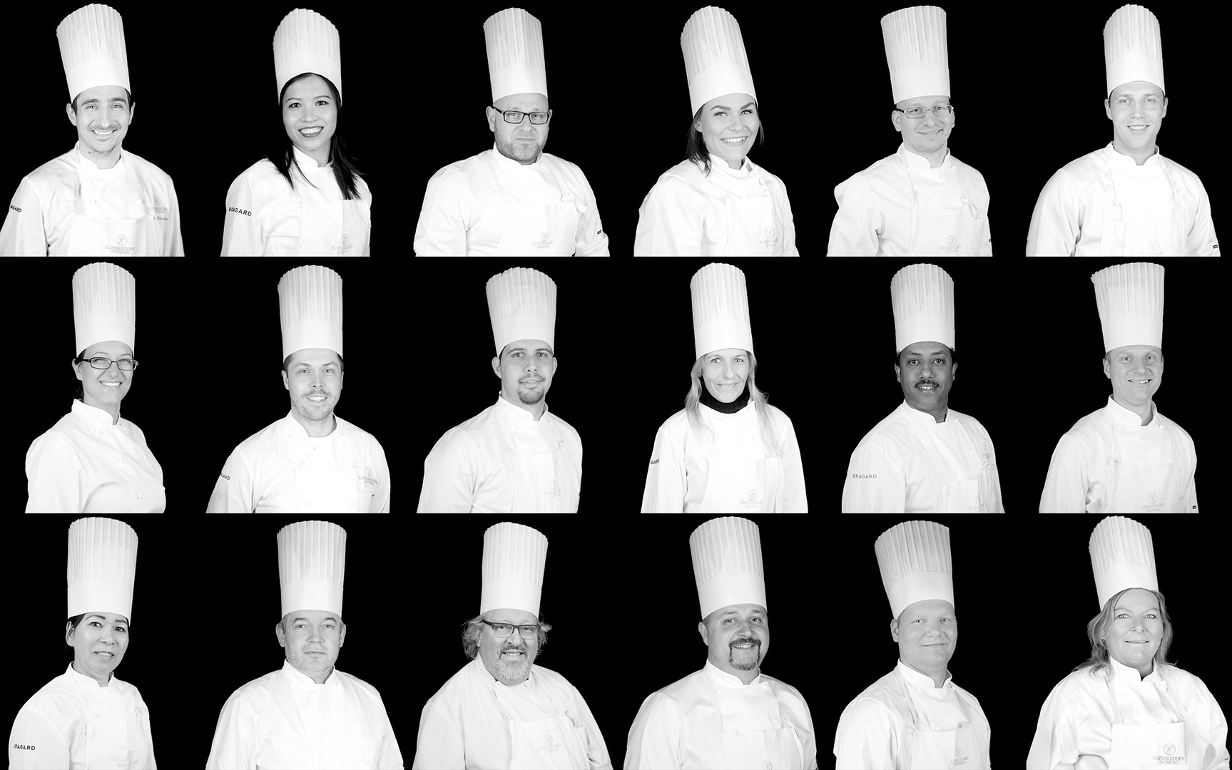 Elvebredden catering kokke team, Portrett, cv bile, ansatt bilde