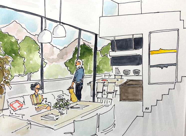 Duplex con living en doble altura