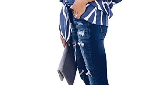 Striped Off The Shoulder Tops Flare Sleeve