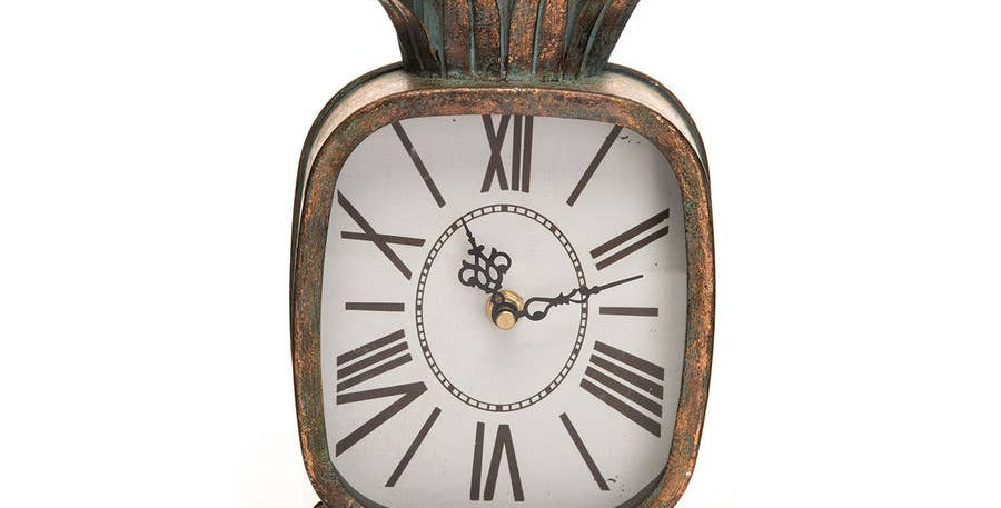 Patina Rustic Pineapple Metal Battery Operated Table Clock