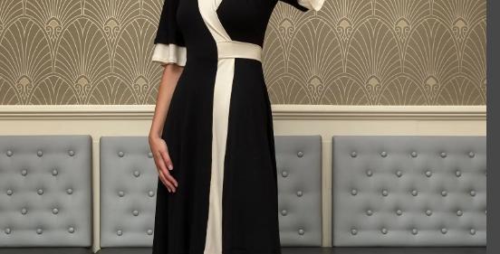 Gabija Colorblock Wrap Dress