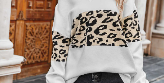 Block leopard print sweater