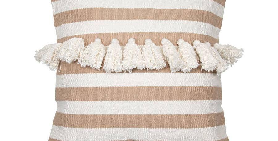 Hand Woven Stripe Pillow Tan