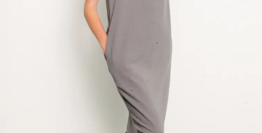 BRUSHED ORGANIC HEMP Side Slit Dress