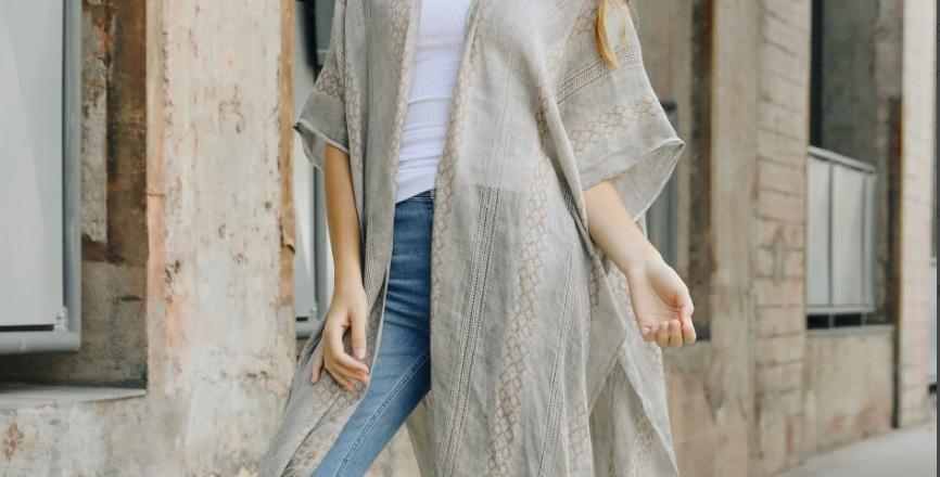 Grey Woven Tribal Kimono