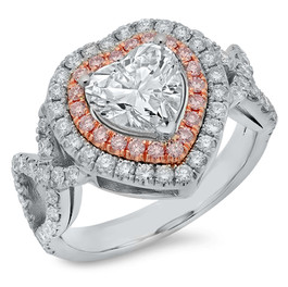 LRC136 HEART SHAPED DIAMOND RING WITH WHITE & PINK DIAMOND DOUBLE HALO