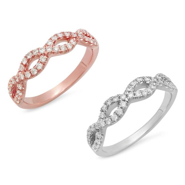 LRC152 DIAMOND WHITE& ROSE GOLD INFINITY BAND