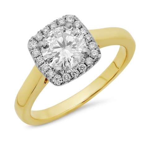 DIAMOND HALO TWO-TONED RING