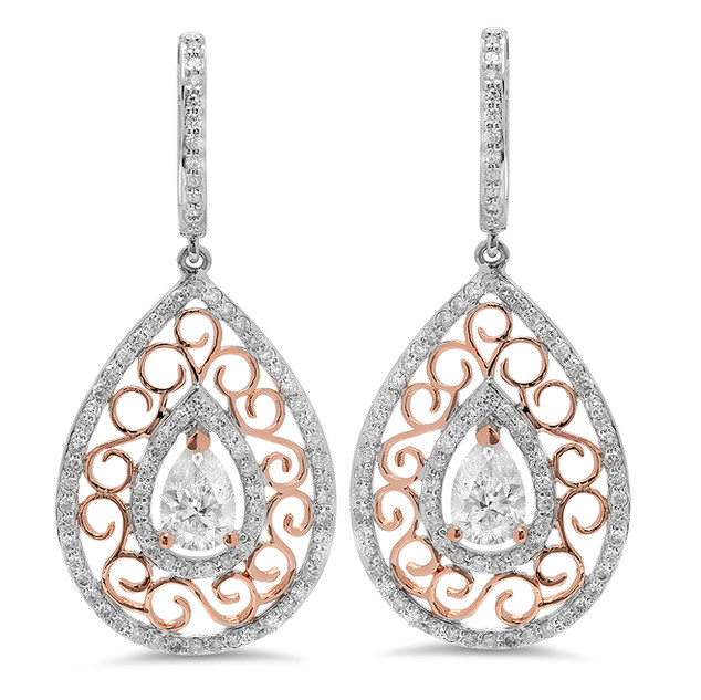 EC101 14K WHITE GOLD PEAR SHAPED DIAMOND EARRINGS WITH 14K ROSE GOLD OPEN SCROLL WORK DESIGN