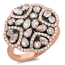 LRC4185 ROSE CUT DIAMOND COCKTAIL RING