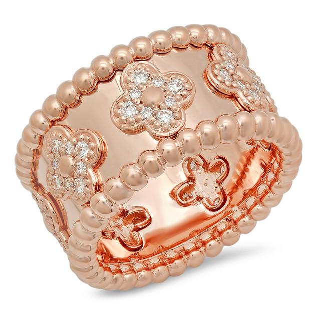 LRC8215 WIDE ROSE GOLD BAND W/ DIAMONDS