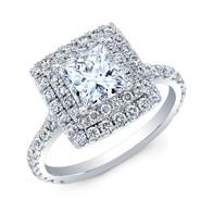 PRINCESS CUT DIAMOND WITH DOUBLE DIAMOND HALO IN 14K WHITE GOLD