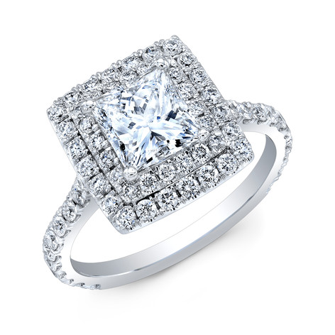 PRINCESS CUT DIAMOND WITH DOUBLE DIAMOND HALO IN 14K WHITE GOLD