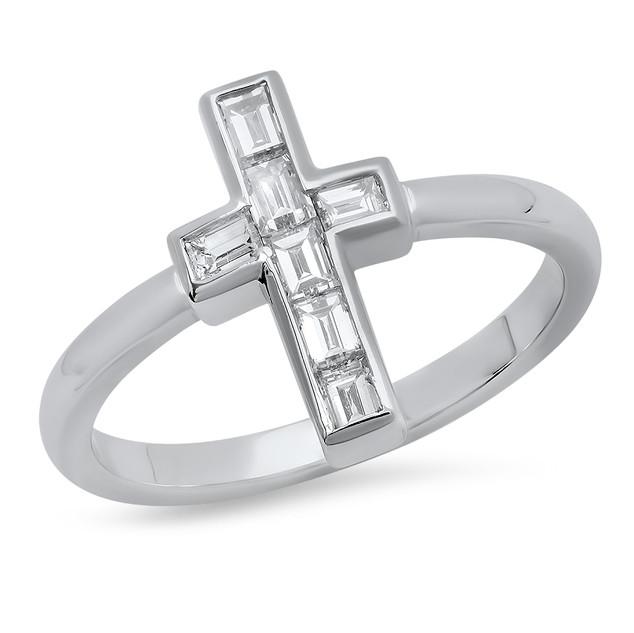 LRC8895 DIAMOND CROSS RING