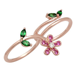 LRC5648 FLOWER DOUBLE RING IN 14K ROSE GOLD